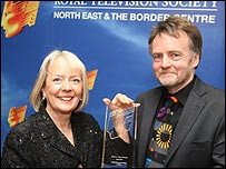 Margaret Fay, Chair of One NorthEast, TV Awards sponsor and David Baillie, winner of the Centre Award