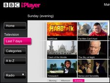 Iplayer homepage, BBC