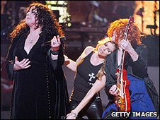 Ann and Nancy Wilson performing with Fergie