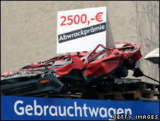 Crushed car in Berlin advertising Germany's trade-in incentive scheme