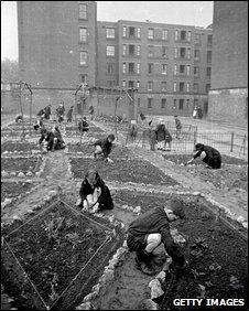 Children gardening on a new estate in Hackney, 1939