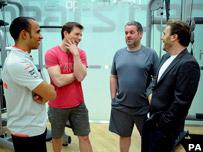 Chris Moyles trains with Lewis Hamilton