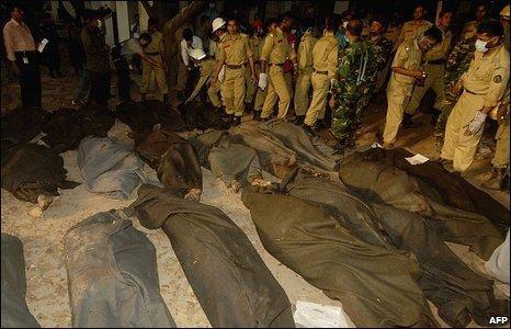 Firemen with dead BDR personnel