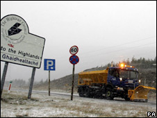 Snow plough on A9