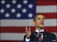 President Obama speaking at Camp Lejeune, 27 February 2009