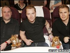 Chris Moyles, Ronan Keating and Gary Barlow on board the flight to Tanzania