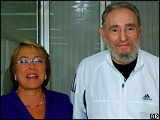 Fidel Castro pictured with Chilean President Michelle Bachelet , 12 February 2009
