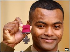 L/Cpl Johnson Beharry with his Victoria Cross in 2005