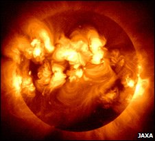 Multiple solar flares as capture by Japan's Hinode spacecraft (Jaxa)