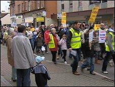 Demonstrators in Ayr town centre
