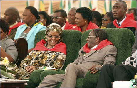 Robert Mugabe with his wife Grace at the party