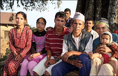 Parshuram Koirala surrounded by his family