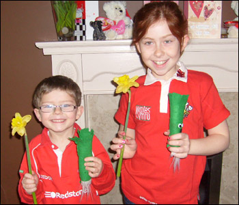 With leeks, daffodils and rugby shirts, Naomi and James from Merthyr Tydfil are ready for their school photograph in this picture, sent by their mam Gaynorl