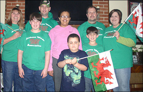 Red dragon flags, green T-shirts and lots of smiles for 1 March from the Alabama Welsh Association. Picture from Janice Gattis