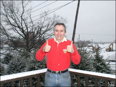 Let's hope a Welsh rugby shirt is enough to keep Mike Inglis warm on a snowy St David's Day in Long Island, New York.