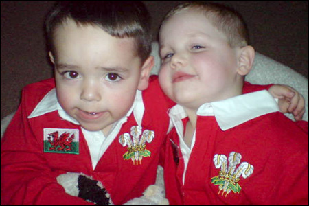 Will, aged four, and Jac, two, nephews of Claire Wheatley, of Barry, look like they could help fill  Welsh rugby's front row in a few years' time.