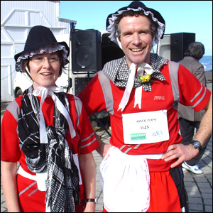 Mark and Leo Lewis in good shape for the St David's Day Welsh Lady Run in aid of the Debra Charity along Aberystwyth promenade.