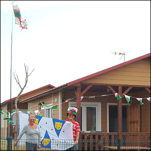 John and Dorothy Morris-Roberts, who live in Shropshire but are originally from Aberystwyth and Rhyl, show their patriotism on a campsite in Conil, south-west Spain.