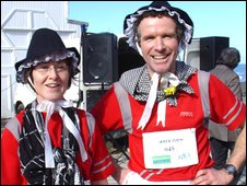 Mark and Leo Lewis joined the Welsh Lady Run on Aberystwyth promenade