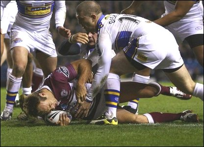 Brett Stewart goes over for Manly's first try