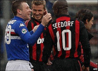 Antonio Cassano, David Beckham and Clarence Seedorf