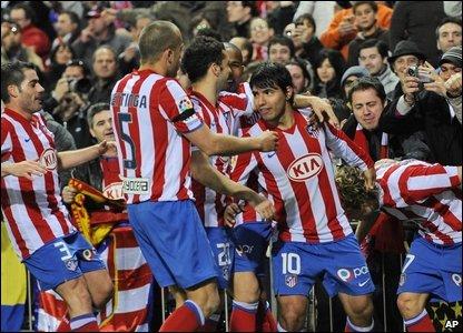 Atletico celebrate against Barcelona