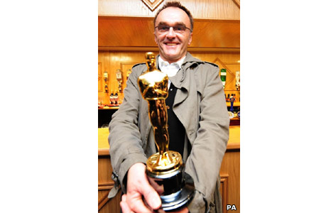 Danny Boyle clutches his Oscar at St Mary's Social Club