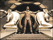 A scene from 300 showing Xerxes