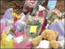 Flowers left at the crash scene in Menai Bridge