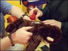 Mechanical heart being placed in the toy monkey
