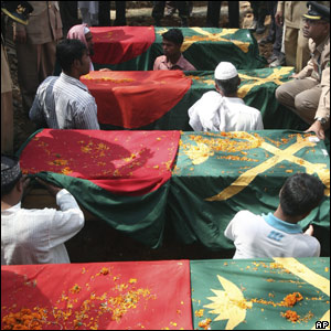 Coffins of dead Bangladesh Border Guards officers await burial, 2 March 2009