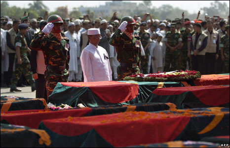 Bangladeshi president Zillur Rahman pays respects, 2 March 2009