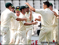Australia celebrate another Johnson wicket