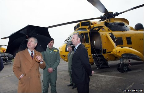 Prince Charles with an RAF seaking helicopter