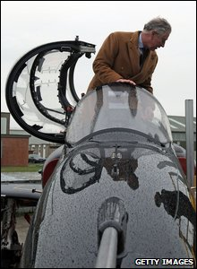 Prince Charles in fighter plane cockpit