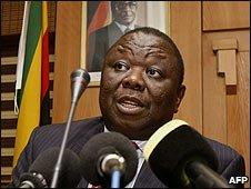 Zimbabwean Prime Minister Morgan Tsvangirai in Harare (25/02/2009)