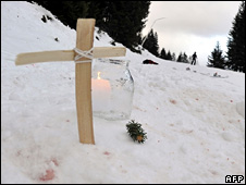 Memorial to Beata Christandl at scene of collision on 2 January 2009