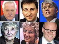 David Dimbleby, Douglas Alexander, Andrew Mitchell, Baroness Williams, Germaine Greer and Toby Young