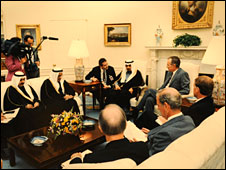 Gamal Helal (Third from left) translates for President George H W Bush at a meeting with Kuwaiti leaders (Picture courtesy of White House)