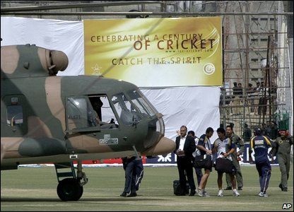 The Sri Lankan cricketers, who had been playing their last match of the tour, were evacuated by helicopter. The team is expected to leave for Sri Lanka immediately.
