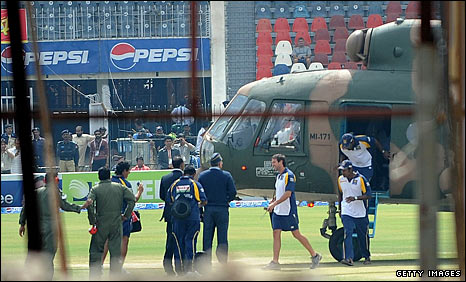 The Sri Lanka players were airlifted from the Gaddafi Stadium to the National Stadium in Lahore
