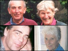 Clockwise from top left: Derek and Jean Robinson, Marie Harding and Kevin Molloy