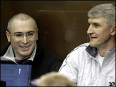 Mikhail Khodorkovsky and Platon Lebedev inside Khamovnichesky district court (3 March 2009)