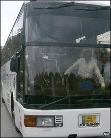 Bus carrying the Sri Lankan team