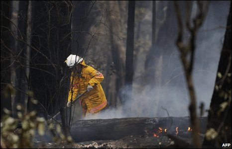 An Australian firefighter in the forest blackened by fire near Jamieson in Victoria State