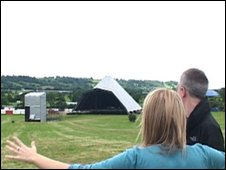 Emily Eavis and Matt Everitt at the Pyramid Stage Glastonbury Site