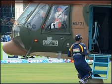 Sri Lankan cricketers are evacuated by military helicopter from Lahore stadium