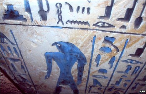 Hieroglyphic inscriptions on a fine limestone sarcophagus inside an ancient Egyptian burial chamber recently discovered by a Japanese archaeological mission in Saqqara (handout image from the Egyptian Supreme Council for Antiquities)
