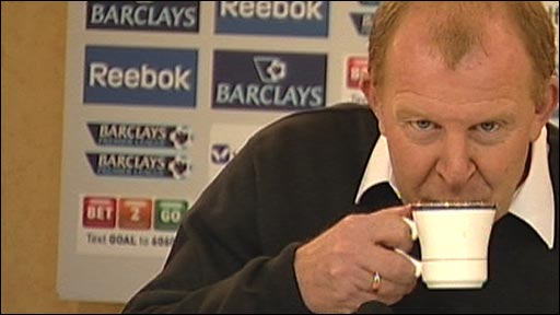 Gary Megson enjoys a cuppa during his press conference