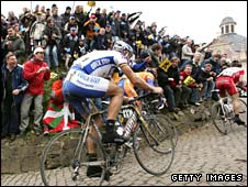 Tom Boonen ascends the Muur-Kapelmuur during last year's Tour of Flanders